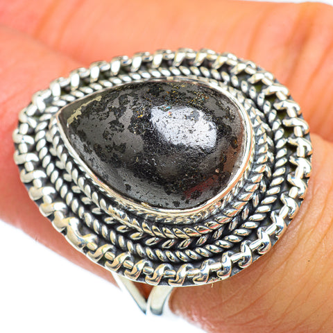 Pyrite In Black Onyx Rings handcrafted by Ana Silver Co - RING47944