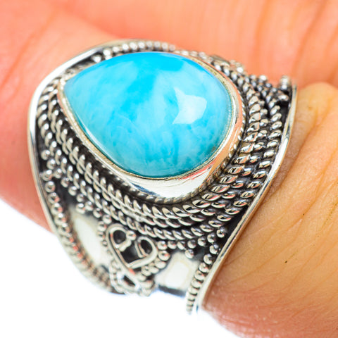 Larimar Rings handcrafted by Ana Silver Co - RING48116
