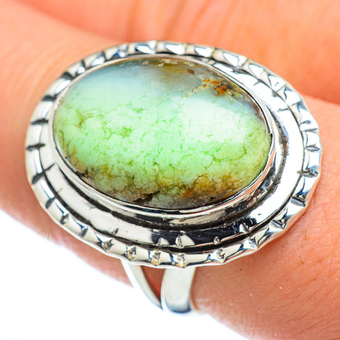 Lemon Chrysoprase Rings handcrafted by Ana Silver Co - RING48122