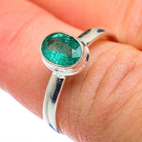 Zambian Emerald Rings handcrafted by Ana Silver Co - RING48332