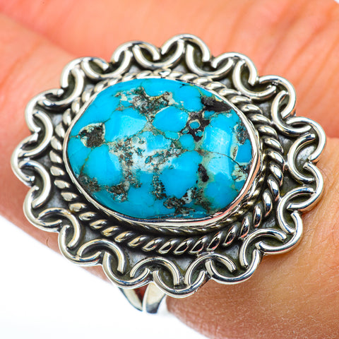Blue Copper Composite Turquoise Rings handcrafted by Ana Silver Co - RING48454