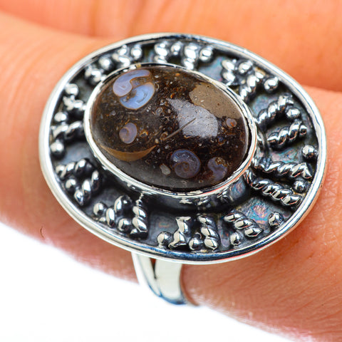 Turritella Agate Rings handcrafted by Ana Silver Co - RING48811