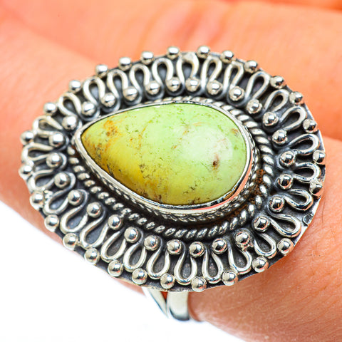 Lemon Chrysoprase Rings handcrafted by Ana Silver Co - RING49024