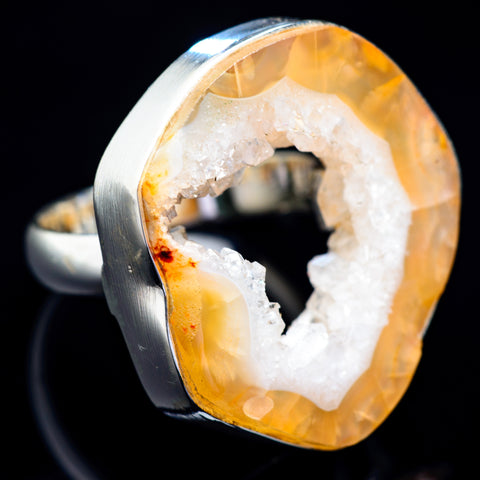 Coconut Geode Druzy Rings handcrafted by Ana Silver Co - RING4938