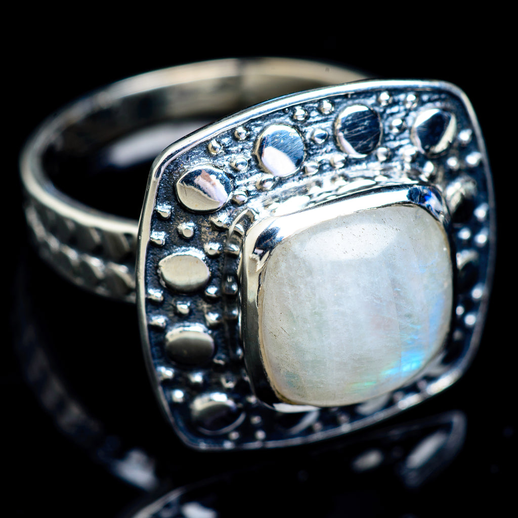 Rainbow Moonstone Rings handcrafted by Ana Silver Co - RING5000
