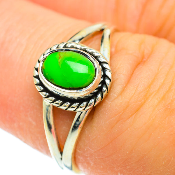 Green Copper Composite Turquoise Rings handcrafted by Ana Silver Co - RING51708