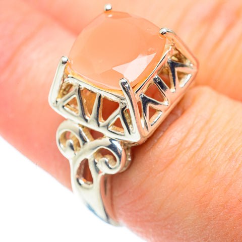 Peach Moonstone Rings handcrafted by Ana Silver Co - RING52307