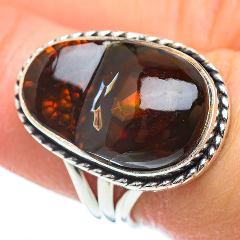 Mexican Fire Agate Rings handcrafted by Ana Silver Co - RING52413