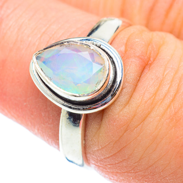 October Birthstone Ring Natural Ethiopian Opal Ring Handmade  Opal Jewelry 925 Silver Ring Opal with Zircon Ring- Opal prong Ring
