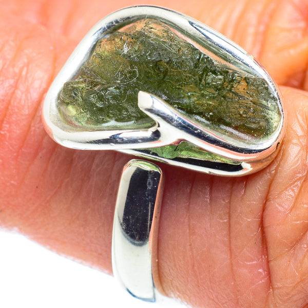 Czech Moldavite Rings handcrafted by Ana Silver Co - RING58105