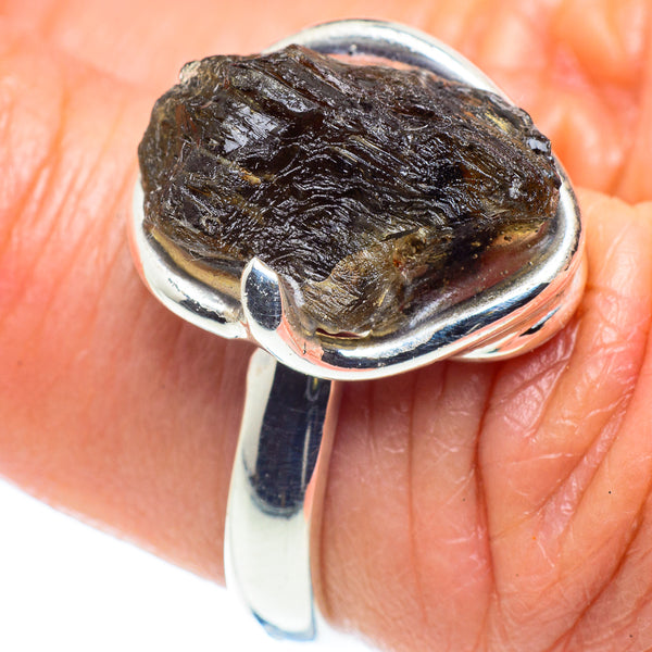 Czech Moldavite Rings handcrafted by Ana Silver Co - RING58115