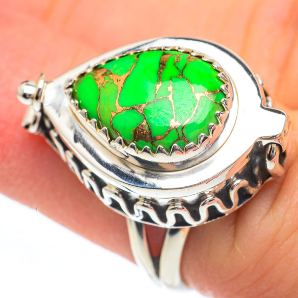 Green Copper Composite Turquoise Rings handcrafted by Ana Silver Co - RING61398