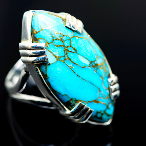 Blue Copper Composite Turquoise Rings handcrafted by Ana Silver Co - RING974213