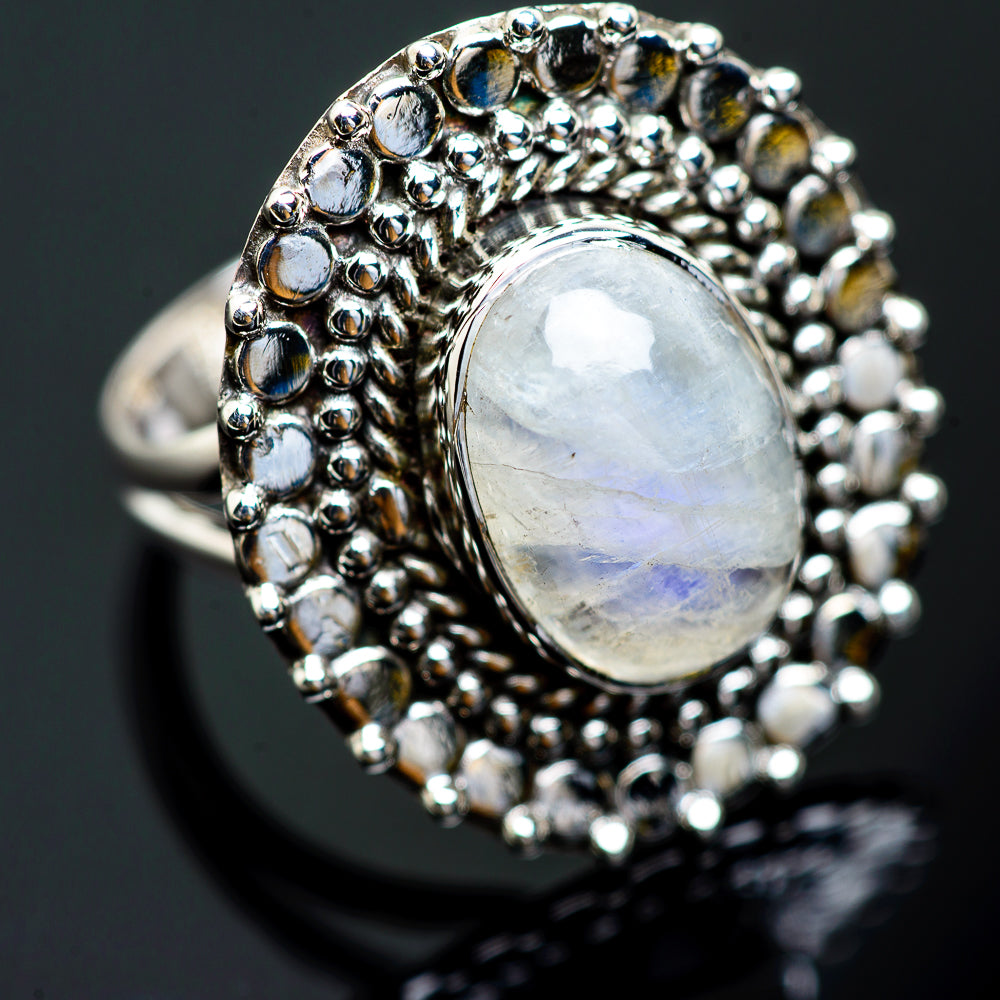 Rainbow Moonstone Rings handcrafted by Ana Silver Co - RING991667