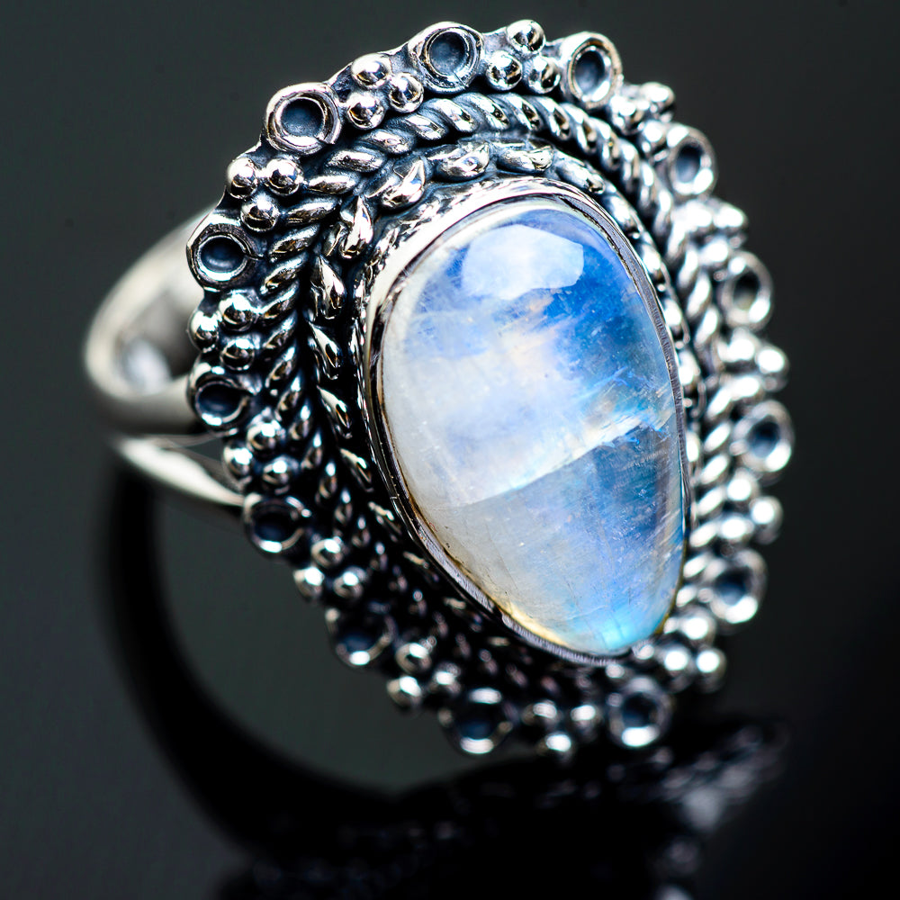 Rainbow Moonstone Rings handcrafted by Ana Silver Co - RING997659