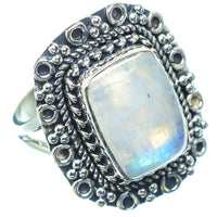 Rainbow Moonstone Rings handcrafted by Ana Silver Co - RING11505