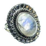 Rainbow Moonstone Rings handcrafted by Ana Silver Co - RING28447