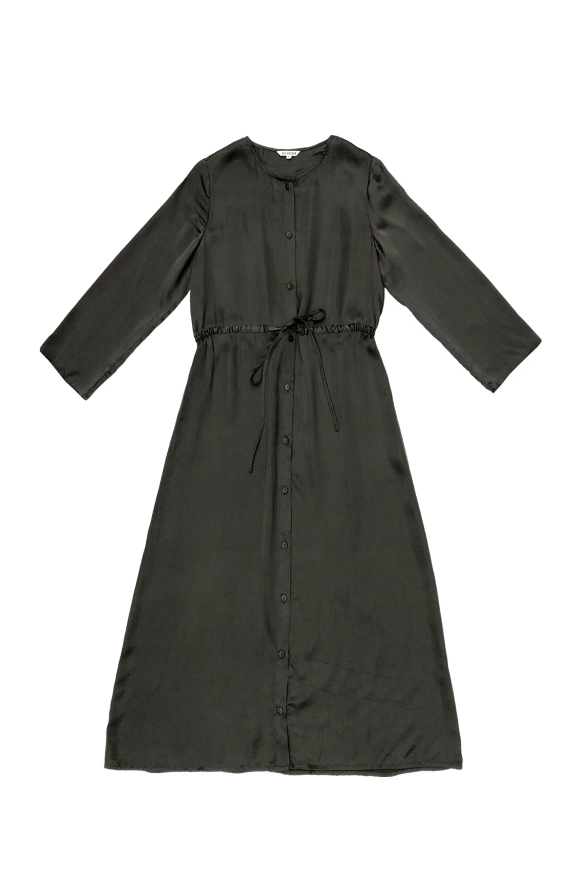 Long Sleeve Button Down Maxi Dress in Mud