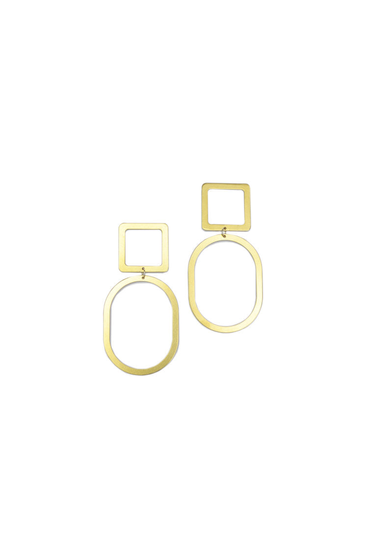 Large Square Oval Earrings