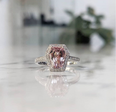 A Morganite stone makes for a deeply romantic custom engagement ring