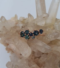 Our Australian Parti Sapphire Cluster Engagement Ring