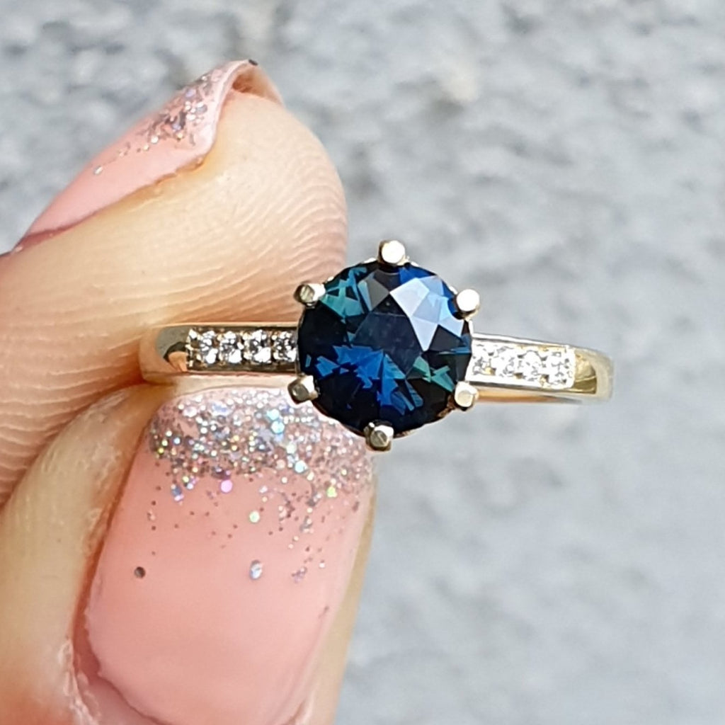 Teal Sapphire Poppy Ring