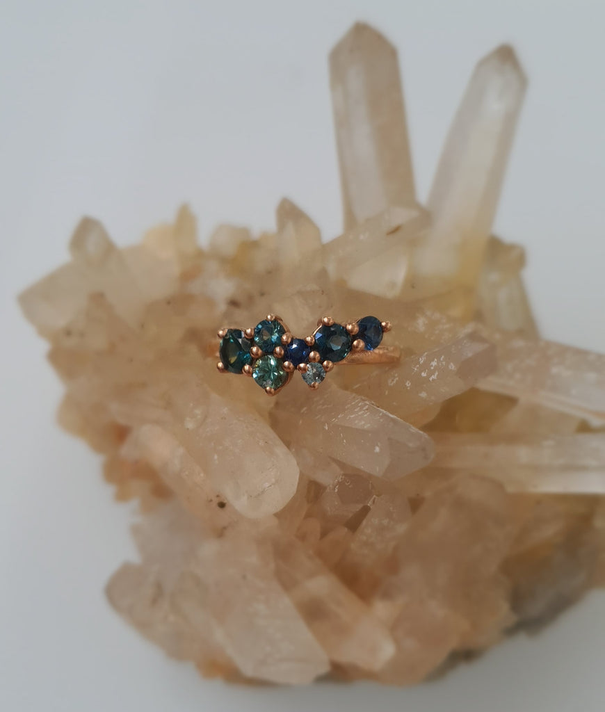 Australian Partii Sapphire Cluster Ring