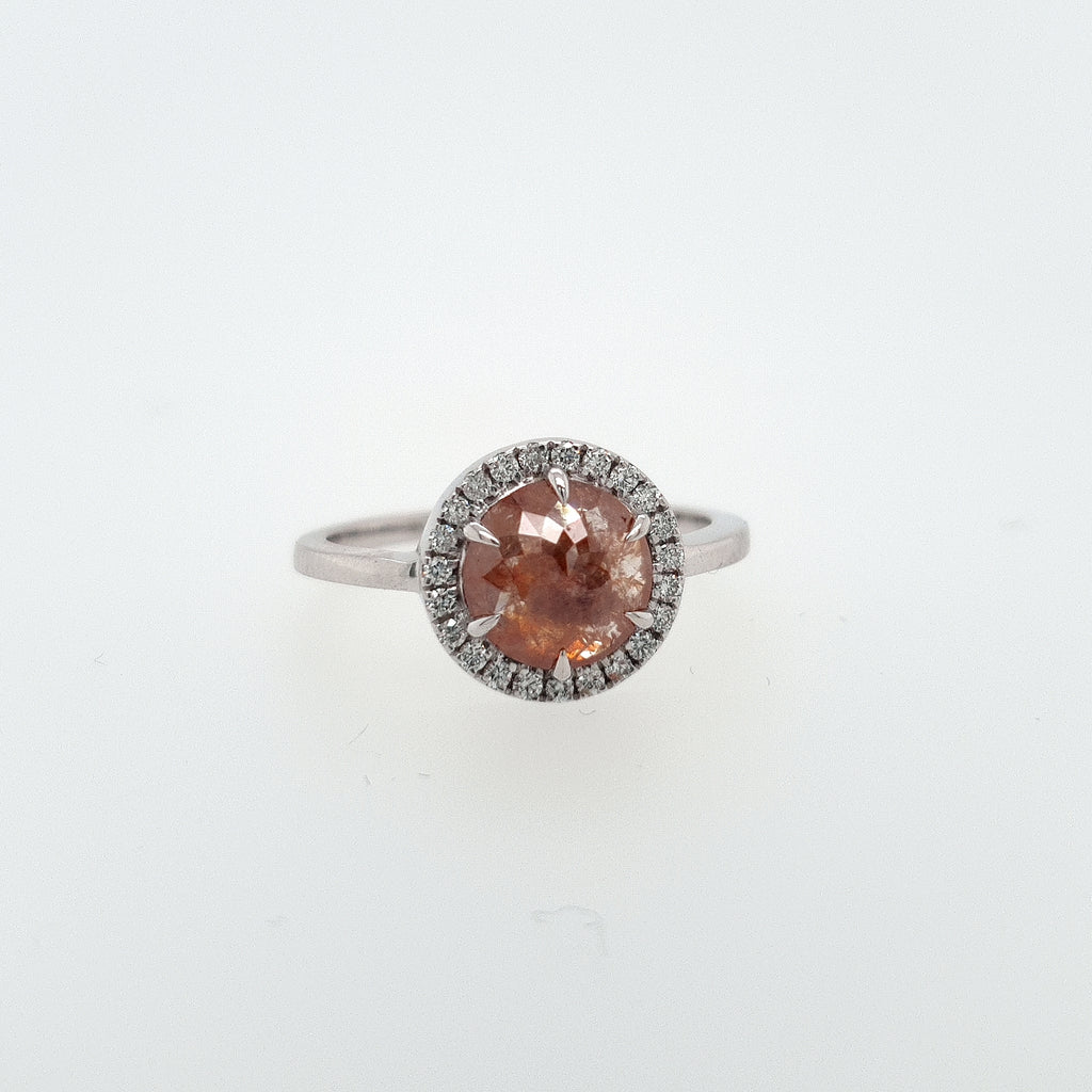 Peach  Salt and Pepper Diamond Halo