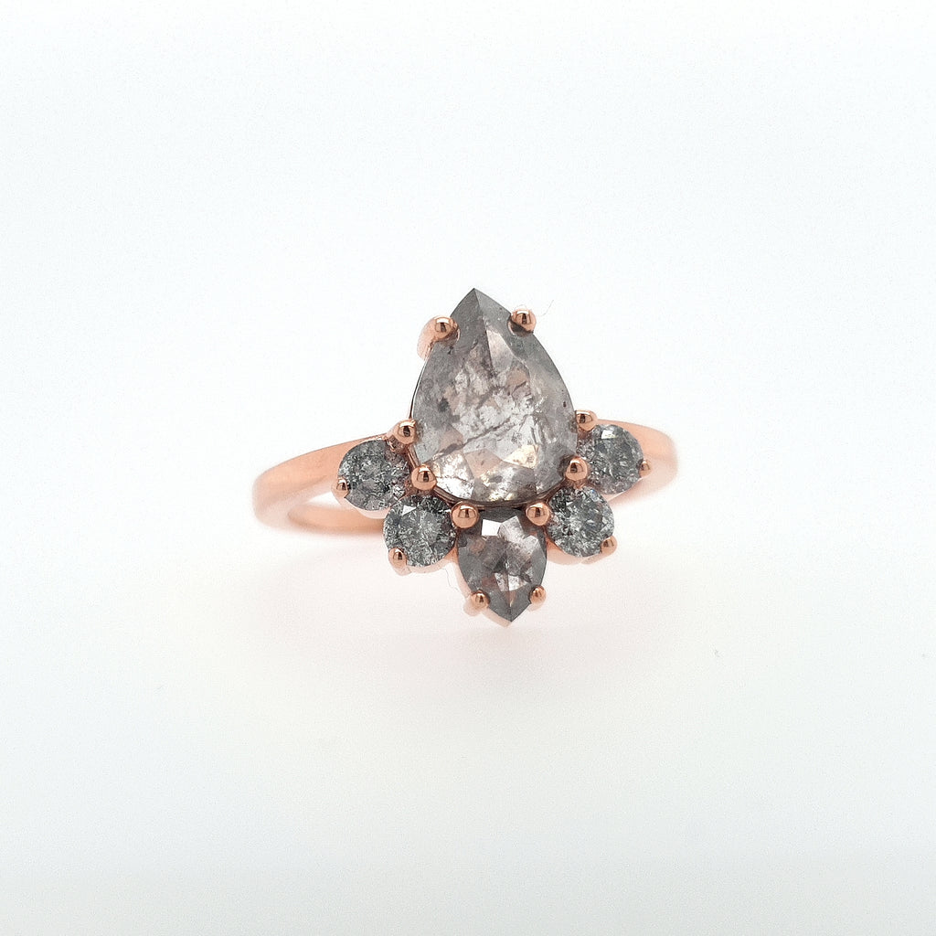 Pear Shape Solitaire with Half Halo with Matching Stacker