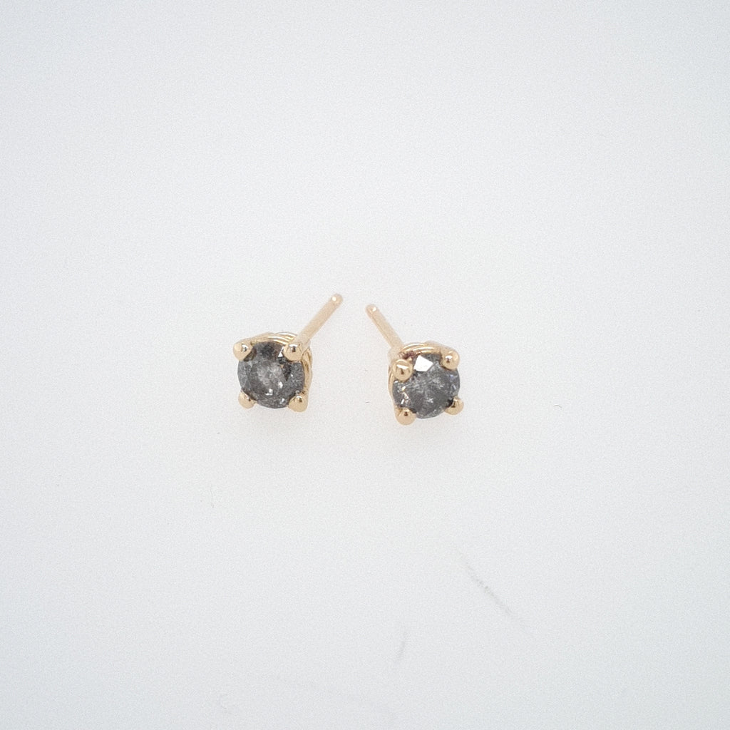 4mm Salt + Pepper Diamond Earrings