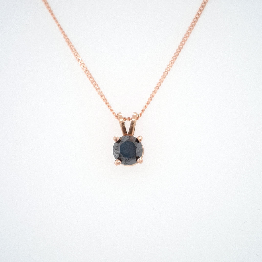 1CT Black Diamond Pendant - rose gold