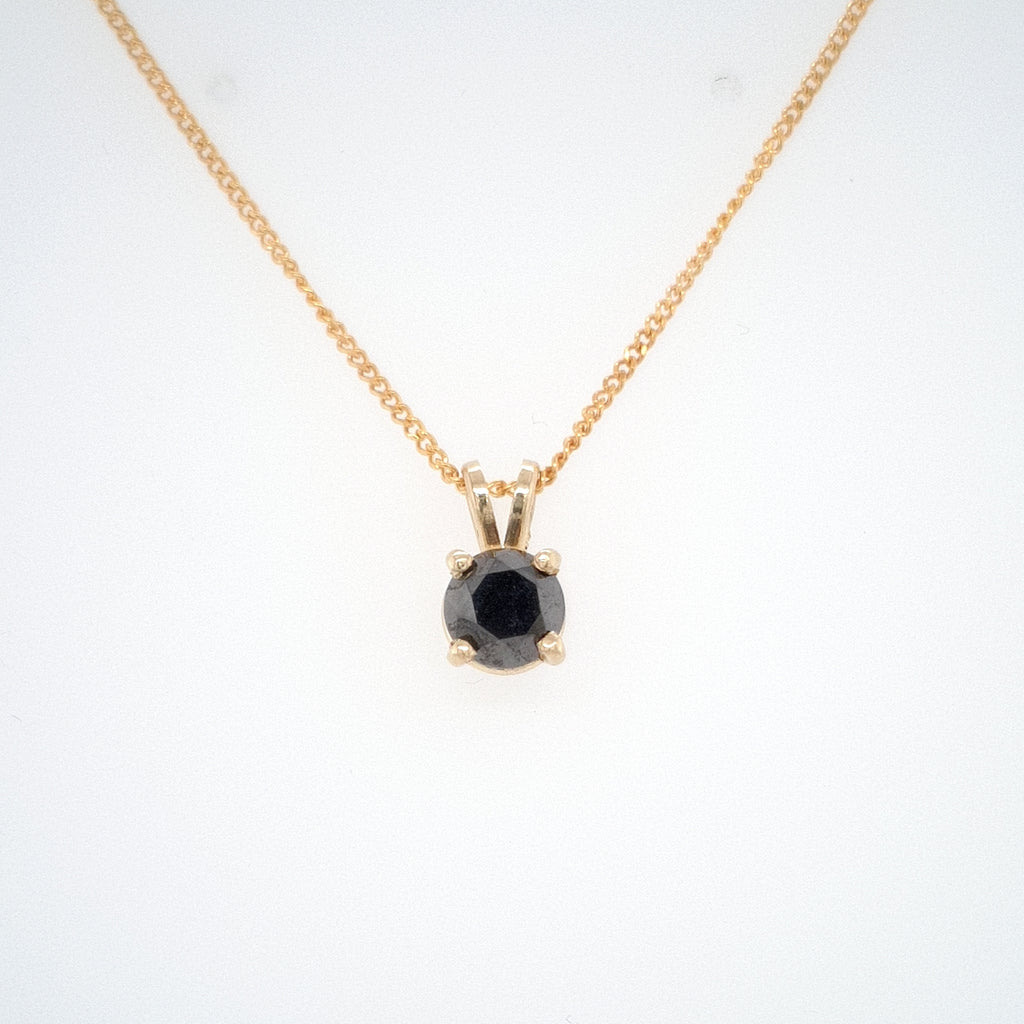 .30CT Black Diamond Pendant - yellow gold