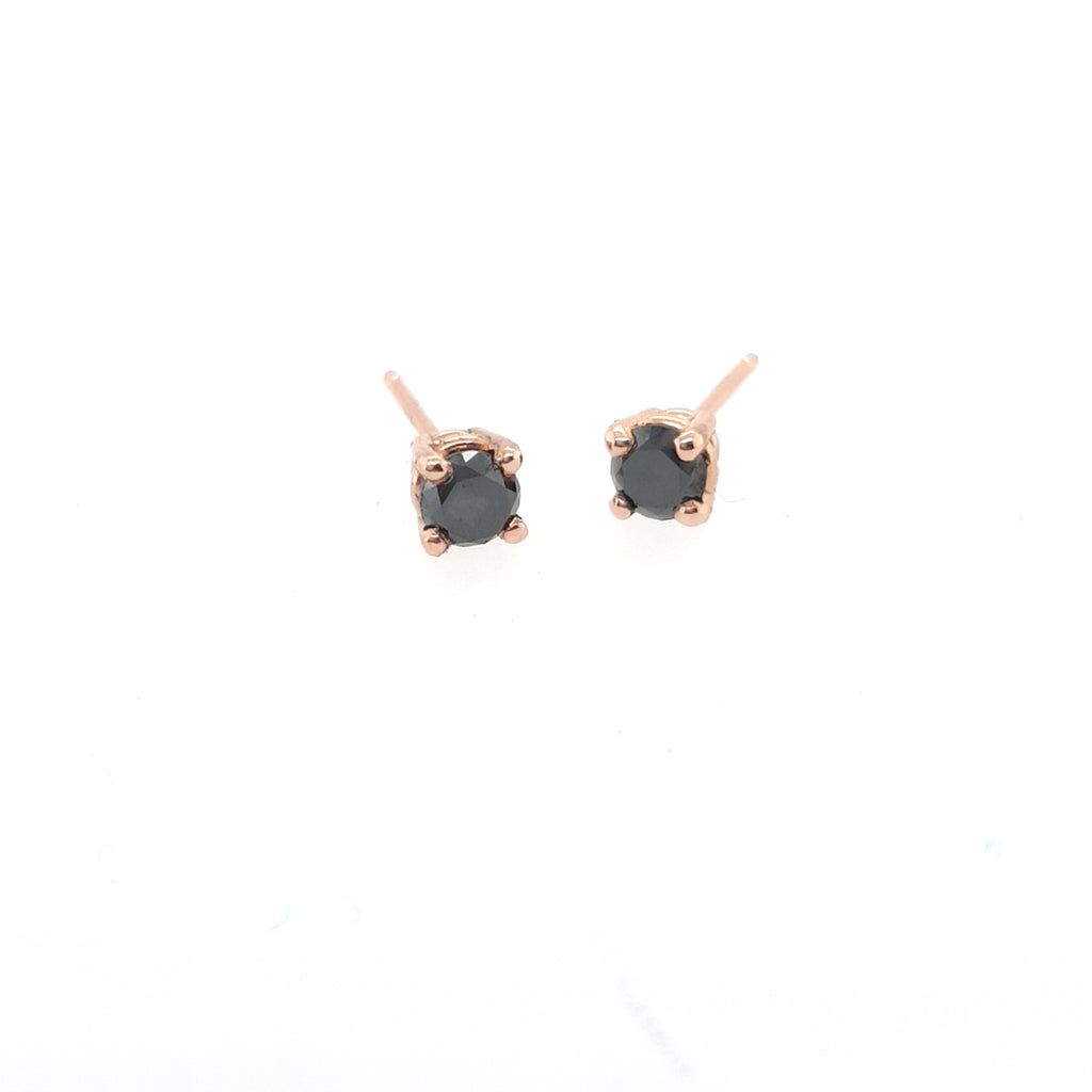 .25CT Black Diamond Earrings - Rose Gold - Ready to Ship