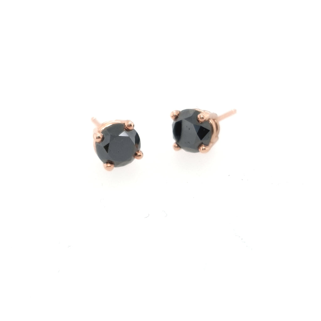 1CT Black Diamond Earrings - Rose Gold- Ready to Ship
