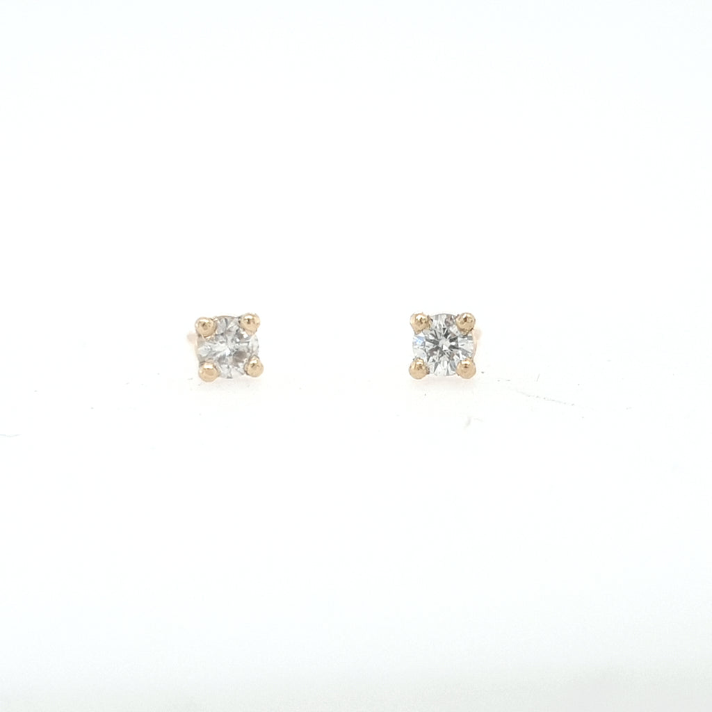 3mm White Diamond Earrings