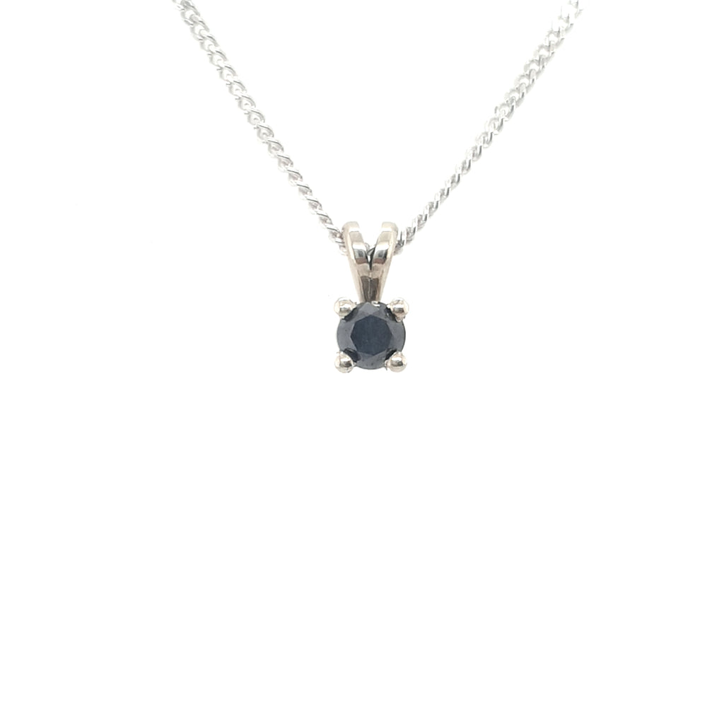 .25CT Black Diamond Pendant - White Gold