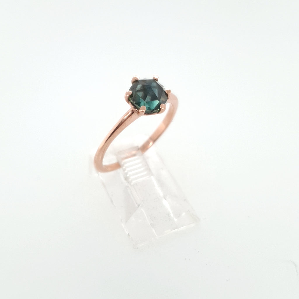 Rose cut Partii Sapphire Solitaire - Rose Gold