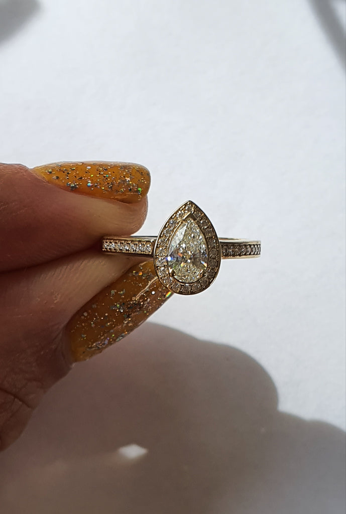 GIA certified White Diamond Pear Halo Ring - Ready to Ship