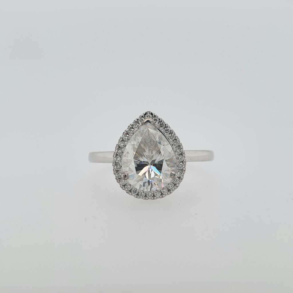 Pear Halo - 10x8mm moissanite