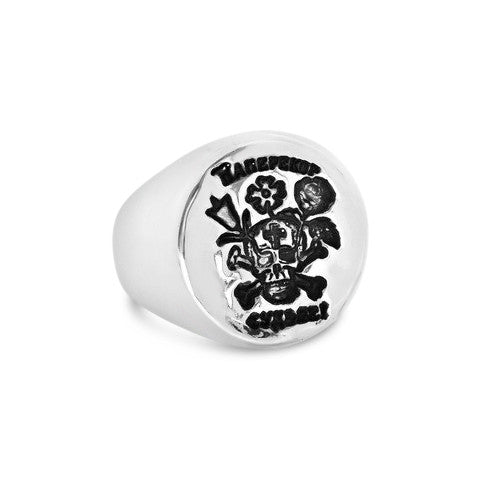 Skull And Roses Russian Tattoo Signet - Ready to Ship