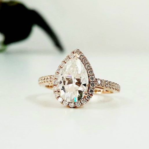 Pear Halo Ring