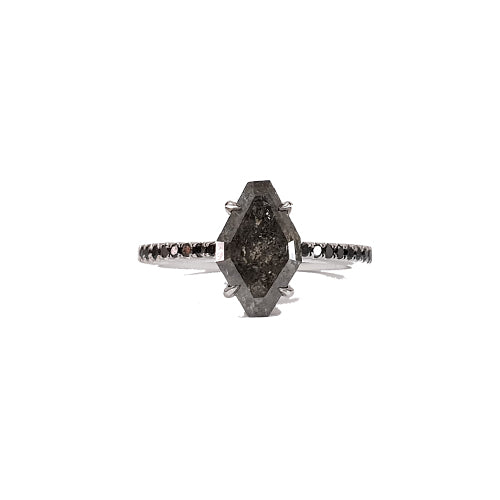 Bespoke: Grey Diamond Kite Dahlia Ring