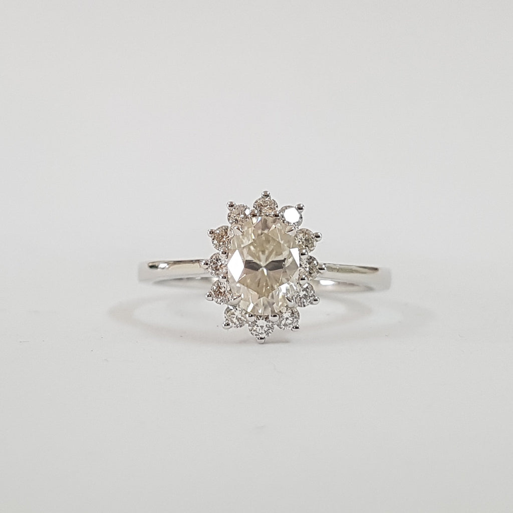 Oval Flora Halo Ring