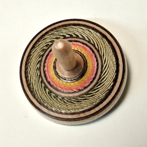 Hard maple, spinning tops, textured, colored