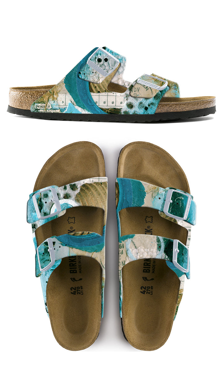 PEACE IS WITHIN YOU CUSTOM BIRKENSTOCKS  by CATHERINE RAINS x Michael Grey