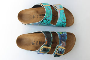 PLAYING WITH FIRE CUSTOM BIRKENSTOCKS  by WENDY MCWILLIAMS x Michael Grey