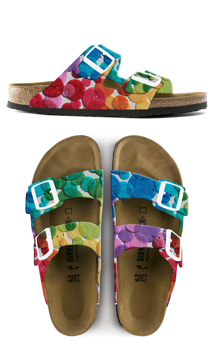 RAINBOW TRANSPARENCIES  CUSTOM BIRKENSTOCKS  by Jordann Wine  x Michael Grey