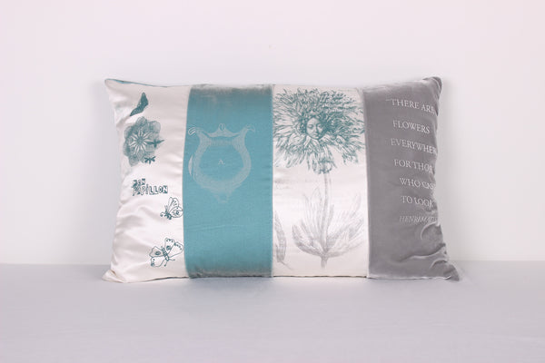 Aqua Poppies Cushion