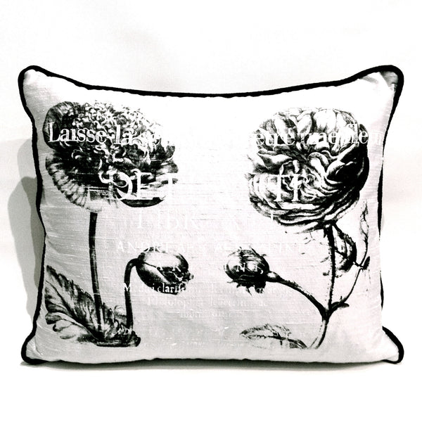 Peonies Cushion Black and White