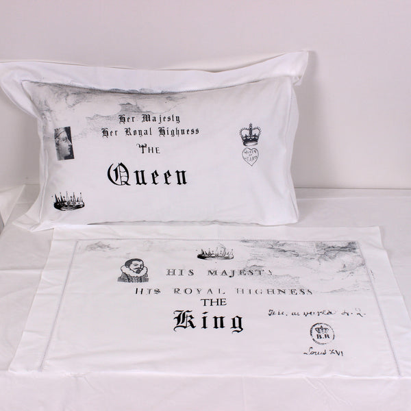 His & Her Royal Highness Cotton Pillowslips - Pair - Front Room Fabrics